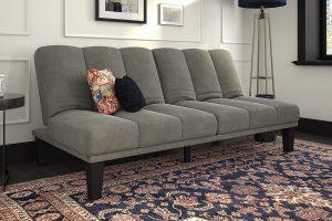 DHP Hamilton Estate Premium Futon Sofa Sleeper Comfortable Plush Microfiber Upholstery Rich Grey