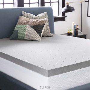 LUCID 3 Inch Bamboo Charcoal Memory Foam Mattress Topper